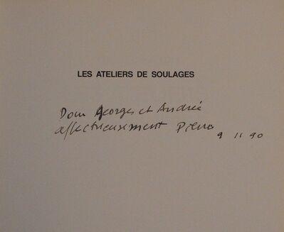 Pierre Soulages, 'Autograph dedication', 1990