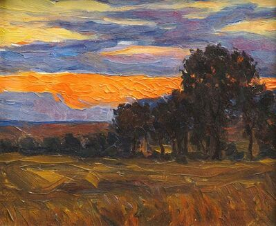 Northern European School, 'Sunset over woodland and fields', early-mid 20th century