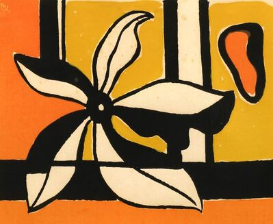 Fernand Léger, 'Composition with flower in orange and yellow'