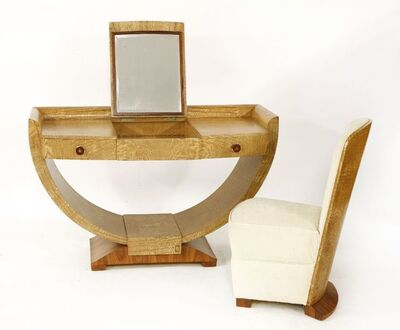 Attributed to Jean Favre, 'An Art Deco tamo ash and santos rosewood bedroom suite'
