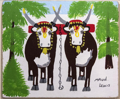 Maud Lewis, 'Two Oxen in Winter'