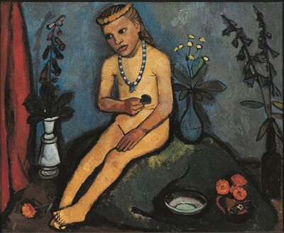 Paula Modersohn-Becker, 'Jeune Fille nue Assise, avec des Vases de Fleurs', 1906-1907