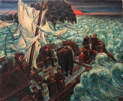 Maurice Kish, 'The Storm, Modern Oil Painting WPA Jewish artist (War Allegory, Refugees)', Mid-20th Century