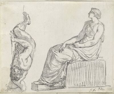 Jacques-Louis David, 'Seated Woman and Man Sprawling on the Ground', 1775/80