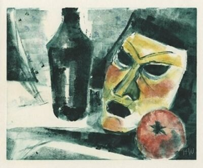 Hellmuth Weissenborn, '[Still Life with Bottle, Mask, & Tomato]', ca. 1960