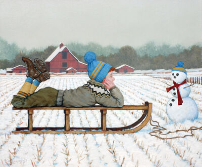 "Fred Calleri, '""Mutual Adoration"" Boy on a Sled with a Snowman, White Winter Ground with Red Barn', 2010-2018"