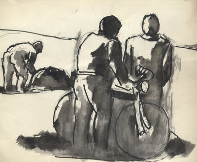 Josef Herman RA, 'Discussion by Bicycle', ca. 1975
