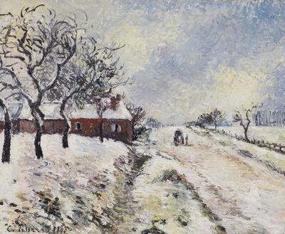 Camille Pissarro, 'Route Enneigée avec Maison, Environs d'Éragny', 1885