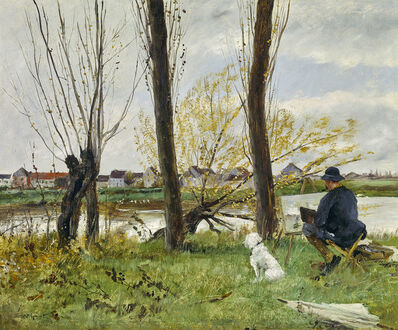 Norbert Goeneutte, 'Artist sketching on the Banks of the Oise', 1893