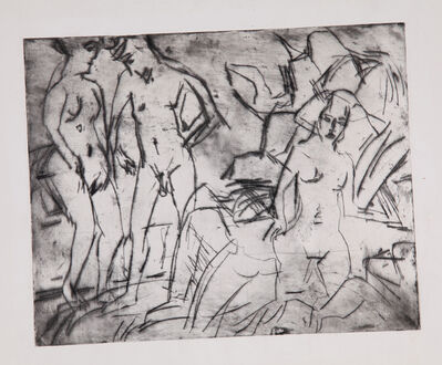 Ernst Ludwig Kirchner, 'Badende im Waldbach (Bathers in a Forest Stream)', 1923