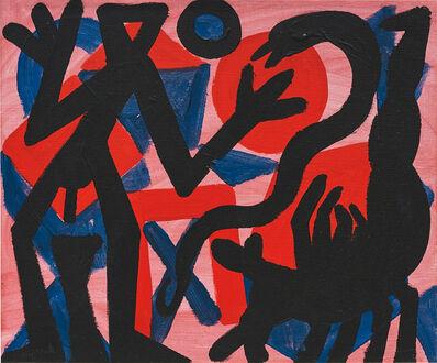 A.R. Penck, 'Zerstörte Form Rot', 2001