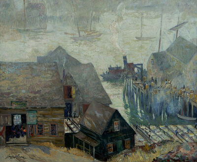 Hayley Lever, 'Gloucester Rooftops and Harbor', ca. 1920s