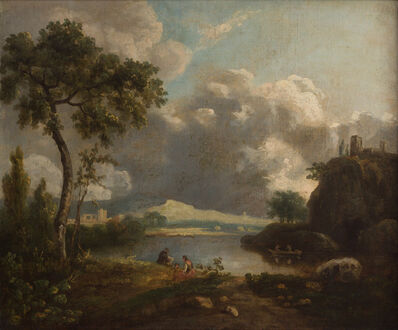 Richard Wilson (1713/14-1782), 'Italian Landscape with Cliffs and Castle', 1750-1760