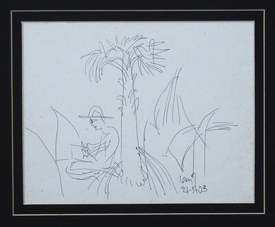 """K. G. Subramanyan, 'Man under the tree, Drawing,  Ink on paper by Padma Vibhushan Artist """"In Stock""""', 2003"""
