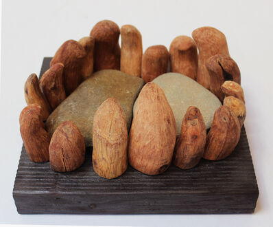 Loren Eiferman, 'Wood Sculpture, 19 pieces with 2 rocks: 'Incantation'', 2019