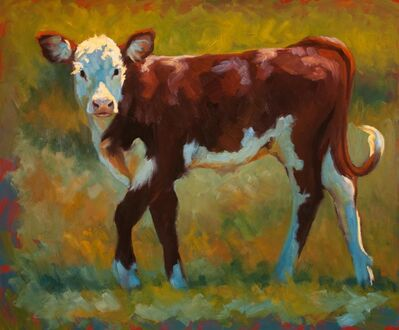 "Cheri Christensen, '""Spring in Her Step"" painterly depiction of a brown and white calf in green grass with dramatic light', 2010-2017"