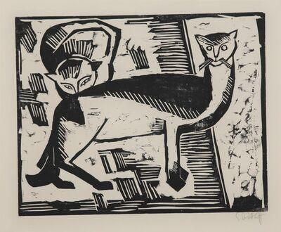 Karl Schmidt-Rottluff, 'Katzen (Cats)', 1915