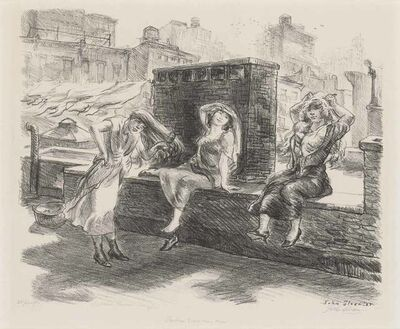 John Sloan, 'SUNDAY, DRYING THEIR HAIR ON THE ROOF (MORSE 209)', 1923