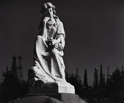 Ansel Adams, 'Cemetery Statue and Oil Derricks', 1939
