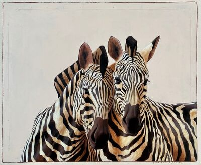 "Santiago Garcia, '""#509"" black and white oil painting of two zebras from front view', 2020"