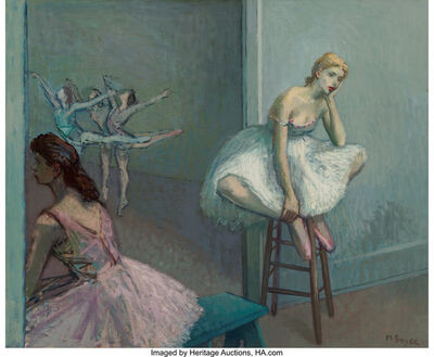 Moses Soyer, 'Resting Dancer on High Stool'