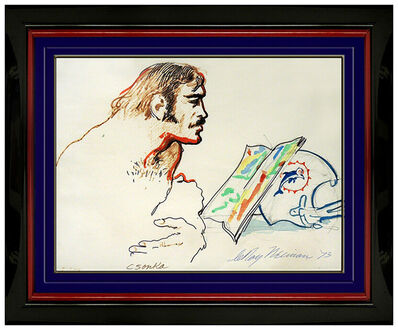 LeRoy Neiman, 'LeRoy Neiman Original Ink Drawing Signed Miami Dolphins Football Larry Csonka', 1973
