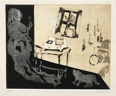 Francisco Toledo, 'Woman and Cat in Kitchen', 1985