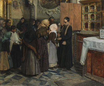 Joaquín Sorolla y Bastida, 'Kissing the Relic', 1893