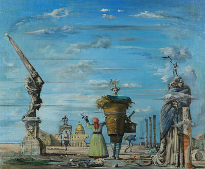 Eugene Berman, 'Vue imaginaire de Rome avec l'obelisque de Lorenzo Bernini', 1939-1940