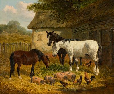 John Frederick Herring Jr., 'Farm Yard with Horses, Piglets and Fowl', 19th Century