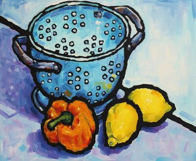 Malcolm Croft, 'Colander with Pepper and Lemons'