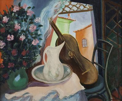Cícero Dias, 'Interior com Vaso de Flor e Violão', Década de 1950