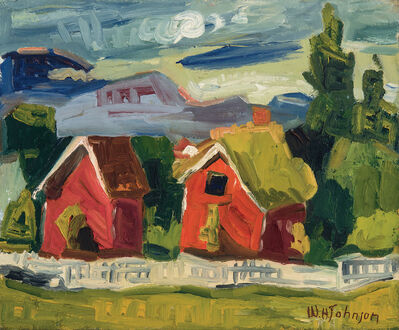 William Henry Johnson, 'Untitled (Two Red Barns)', ca. 1935