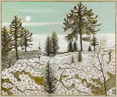 Billy Childish, 'moon and pine trees (version)', 2017