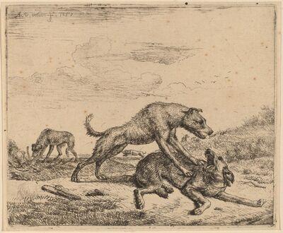 Adriaen van de Velde, 'Fighting Dogs', ca. 1657/1659