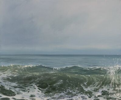 """Annie Wildey, '""""Morning Wave IV"""" oil painting of a cresting wave in a pale green and blue ocean', 2010-2017"""