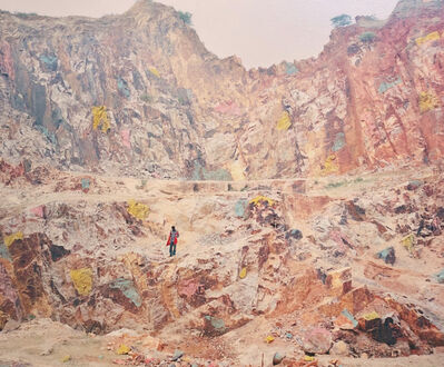 Vasantha Yogananthan, 'The Quarry Munger, Bihar, India', 2014 (painted in 2020)