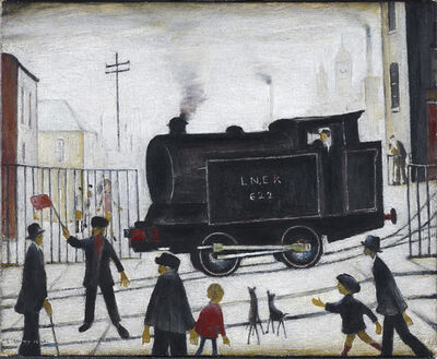 Laurence Stephen Lowry, 'Level Crossing With Train', 1973