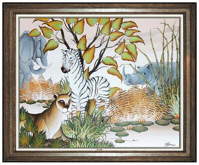 Gustavo Novoa, 'Gustavo NOVOA Original Oil Painting on Board Animal Jungle Signed Artwork LARGE', 1975
