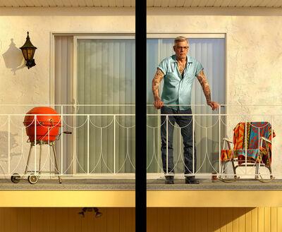 Rodney Graham, 'Tattooed Man on Balcony', 2018