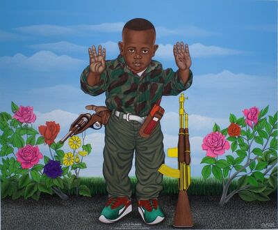 Chéri Samba, 'Little Kadogo, I am for Peace, That is Why I Like Weapons', 2004