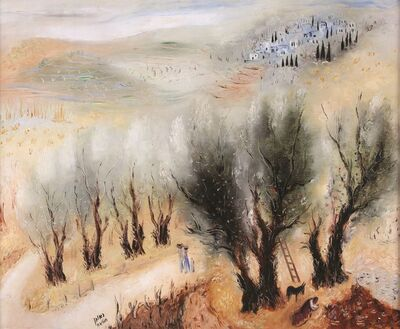 Reuven Rubin, 'The Road to Galilee, Oil on canvas, 66X82 cm. Signed. Signed on the reverse. The authenticity of the painting has been confirmed by Ms. Carmela Rubin, Rubin Museum, Tel-Aviv.', 1893-1974