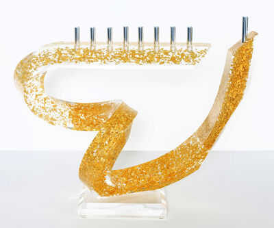 Will Grant, 'Heart Menorah - Acrylic With Gold Leaf Flakes', 2016