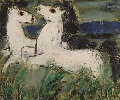 Reuven Rubin, 'Horses, Oil on canvas, 38X46 cm. Signed. The authenticity of the painting has been confirmed by Ms. Carmela Rubin, Rubin Museum, Tel-Aviv.', 1893-1974