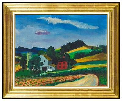Ernest Fiene, 'Ernest Fiene Original Oil Painting On Board Rural Landscape Signed Modern Framed', 20th Century