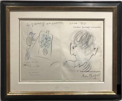 Marc Chagall, 'Double Profil et coq peintre', 1967