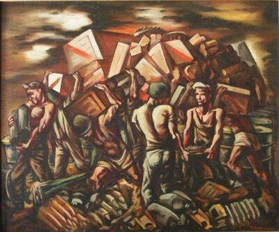 Howard Cook, 'MILITARY MUNITIONS American Modernism WPA World War II Modern Realism Historical', ca. 1940s