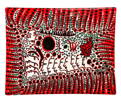 "Yayoi Kusama, '""WOMEN WAIT FOR LOVE, BUT MEN ALWAYS WALK AWAY"" Plate', ca. 2020"