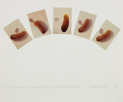 John Baldessari, 'Five Pickles (With Fingerprints) in the Shape of a Hand, from Artists & Photographers', 1975