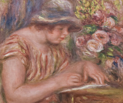Pierre-Auguste Renoir, 'Femme à Corsage à Rayures Jaune et Rouge Ecrivant', 1918
